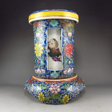 Hand-painted Chinese Guang Colour Porcelain Brush Pot Fortune Kid & Flower