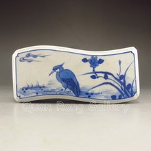 Vintage Chinese Blue and White Porcelain Hollowed Carved Paperweight