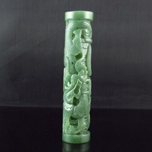 Hand-carved Chinese Natural Green Hetian Jade Statue - Dragons