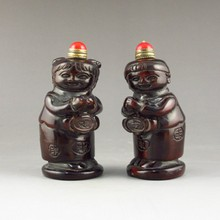 A Pair Hand-carved Vintage Chinese Horn Snuff Bottle - Fortune Childrens