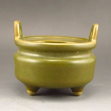Superb Chinese Tea Dust Glaze Gold-plating Porcelain 3 Leg Incense Burner w Mark