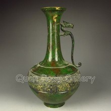 Rare Vintage Chinese Bronze Colored Vase Carved Dragon Phoenix