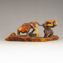 Hand-carved Chinese Deer Horn Statue - Man & Tiger