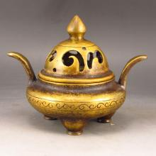 Chinese Brass Incense Burner Marked
