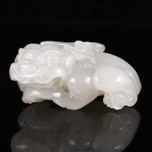 Hand Carved Chinese Natural White Hetian Jade Pendant - Pi Xiu Dragon