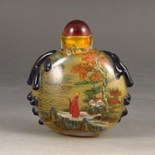 Handmade Chinese Beijing / Peking Grass Snuff Bottle w Exquisite Scenery