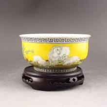 Hand-painted Chinese Yellow Glaze Famille Rose Porcelain Bowl w Sheep Flower & Mark