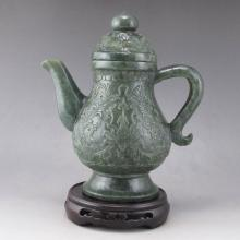 Superb Chinese Natural Deep Green Hetian Jade Wine Pot Carved Luckly Design