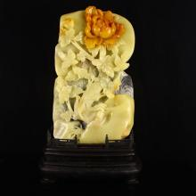 Excellent Hand Carved Chinese Natural Shoushan Stone Statue - Vivid Flower & Bird
