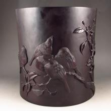 Big Superb Hand Carved Chinese Natural Red Sandalwood Brush Pot w Tung Tree & Birds