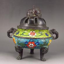 Chinese Bronze Cloisonne 3 Leg Incense Burner w Xuan De Mark