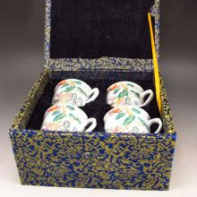 A Set Four Piece Hand-painted Chinese Famille Rose Porcelain Cup w Qing Dy Guang Xu Mark