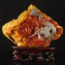 Superb Hand Carved Chinese Natural Jade Statue - Dragon & Phoenix