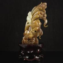 Hand Carved Chinese Natural Hetian Jade Statue - Chickens