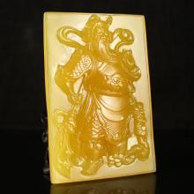 Superb Hand Carved Chinese Natural Jade Pendant w Guan Gong