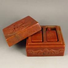 Chinese Shoushan Stone Carved Foo Dog Seal & Seal Box