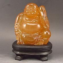 Hand Carved Chinese Natural Shoushan Stone Statue - Laughing Buddha
