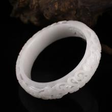 Hollow-out Hand Carved Chinese Natural White Hetian Jade Bracelet