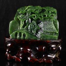 Hand Carved Chinese Natural Green Hetian Jade Statue w Old Man & Pine Tree