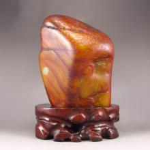 Chinese Natural Hetian Jade Original Stone Statue / Gamble Stone
