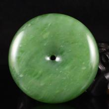 Hand Carved Chinese Natural Green Hetian Jade Pendant - Lucky Buckle