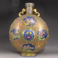 Vintage Chinese Qing Dynasty Hand-painted Gold-plating Colour Enamels Porcelain Moon Flask Vase w Yongzheng Mark
