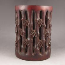 Superb Chinese Hand-carved Bamboo Brush Pot w Ancient Poems