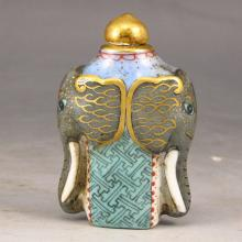 Hand-painted Chinese Enamels Porcelain Snuff Bottle w Qian Long Mark