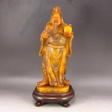 Vintage Hand Carved Chinese Natural Shoushan Stone Statue - Guangong