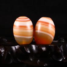A Pair Beautiful Chinese Natural Agate Beads Statue