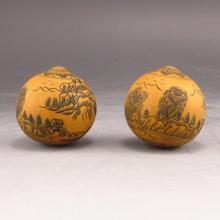 A Pair Hand-carved Chinese Gourd Mountains Waters Painting Statue