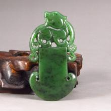 Hand Carved Chinese Natural Green Hetian Jade Pendant - Dragon Axe