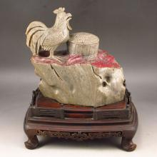 Excellent Hand Carved Chinese Natural Bloodstone Statue - Rooster