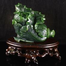 Hand Carved Chinese Natural Green Hetian Jade Statue - Fortune Cabbage