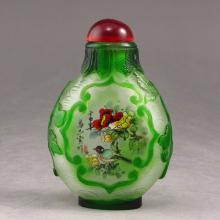 Handmade Chinese Beijing / Peking Glass Snuff Bottle w Flower & Magpie