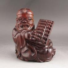Hand-carved Chinese Natural SandalWood Statue - Fortune Old Man