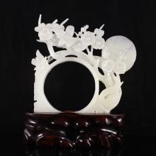 Hand Carved Chinese Natural Hetian Jade Statue - Magpie & Plum Flower