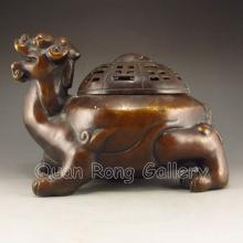 Chinese Bronze Ao Dragon Turtle Shape Incense Burner