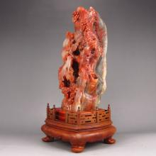 Hand Carved Chinese Natural Shoushan Stone Statue w Plum Flower