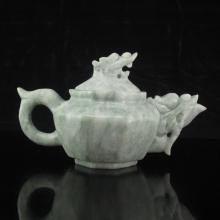 Hand-carved Chinese Natural Jade Teapot w Fish Head & Dragon Head