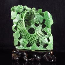 Hollow-out Carved Chinese Natural Green Hetian Jade Statue w Goldfishes