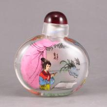 Beautiful Chinese Beijing / Peking Glass Inside Painting Snuff Bottle w Ancient Beauty
