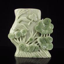 Superb Carved Chinese Natural Jade Brush Pot w Crane & Pine Tree
