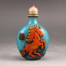 Vintage Hand Carved Chinese Beijing / Peking Glass Snuff Bottle w Fortune Horses