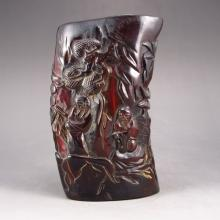 Hand Carved Chinese Ox Horn Sacrifice Cup w Old Man & Pine Tree