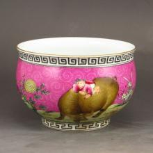Hand-painted Chinese Gold-plating Famille Rose Porcelain Bowl w Pasture Cattle Child & Qian Long Mark