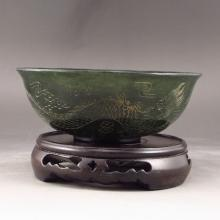 Hand Carved Chinese Deep Green Hetian Jade Bowl w Dragon