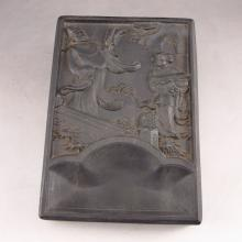 Hand-carved Chinese Inkstone w Reading Book Man