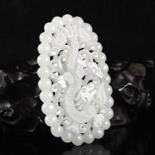 Hollow-out Carved Chinese Natural White Hetian Jade Pendant Carved Dragon