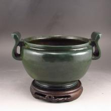 Hand Carved Chinese Natural Deep Green Hetian Jade Incense Burner